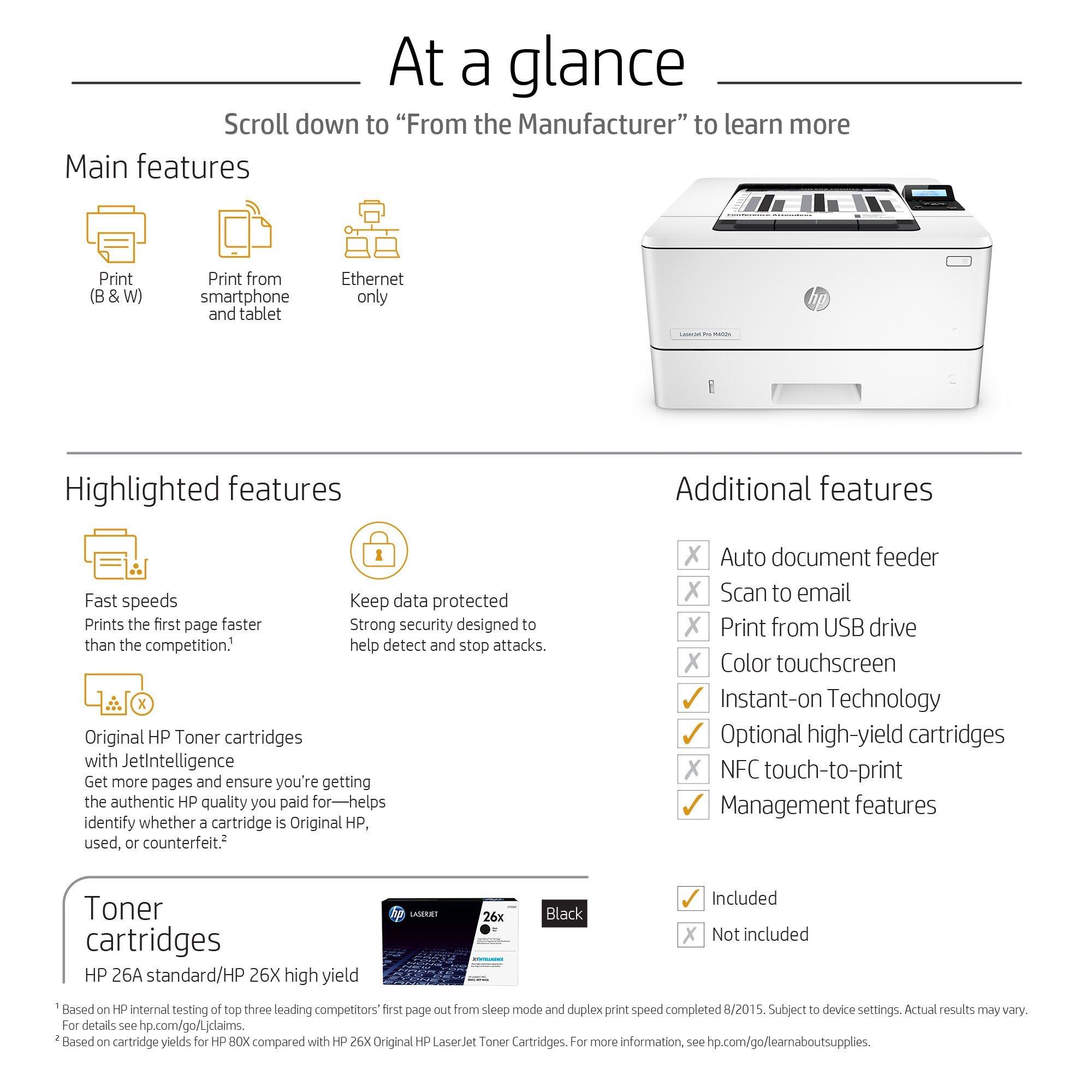 HP Laserjet Pro M402n Monochrome Printer, (C5F93A) (Renewed) by HP (Image #5)