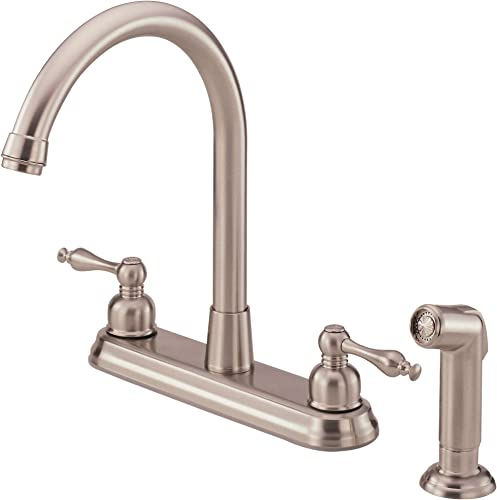 Danze D422255SS Sheridan Two Handle High-Rise Kitchen Faucet with Side Spray, Stainless Steel