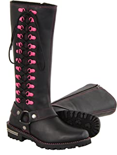 Milwaukee Leather Women's Leather Harness Boots with Fuchsia Accent Loops (Black/Fuchsia Hot Pink, Size 7.5/14')