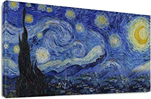 """Starry Night by Vincent Van Gogh Classic Wall Art Reproduction Print On Canvas Framed for Home Decor 20"""" x 40"""""""
