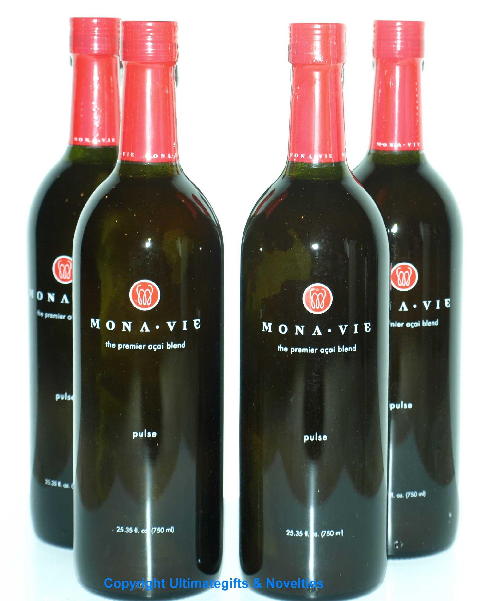 Monavie Pulse 4 Bottles New Red Insured