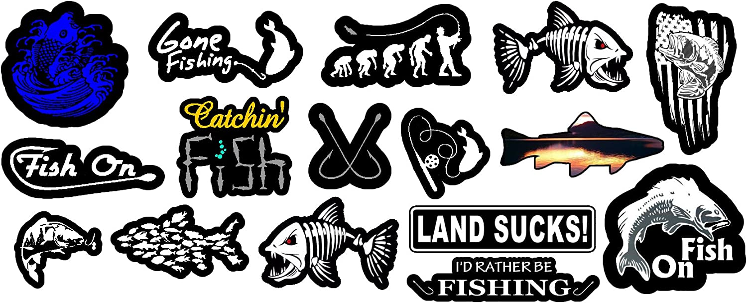 18 Fishing Stickers Graphic  LOT of Decals