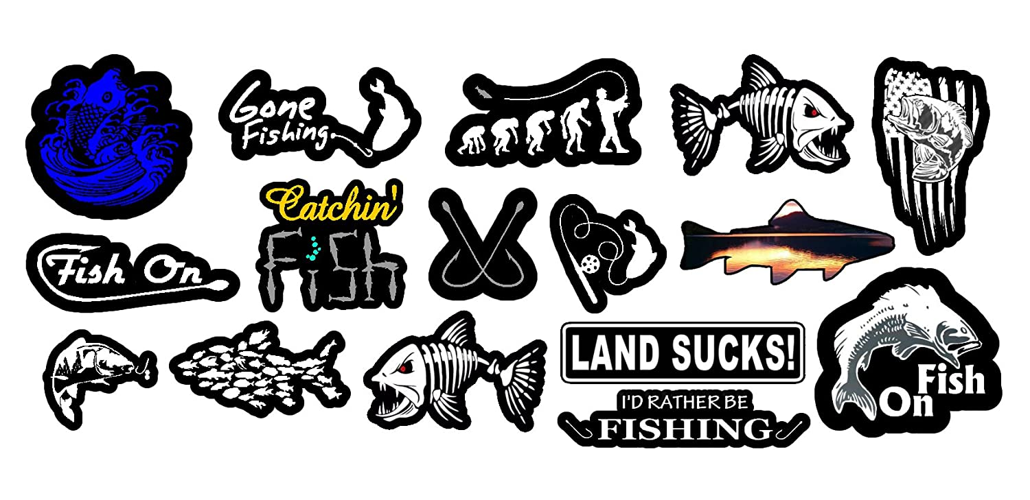 Amazon com owntheavenue fishing bass fish vinyl decal stickers pack lot of 16 decals mega automotive