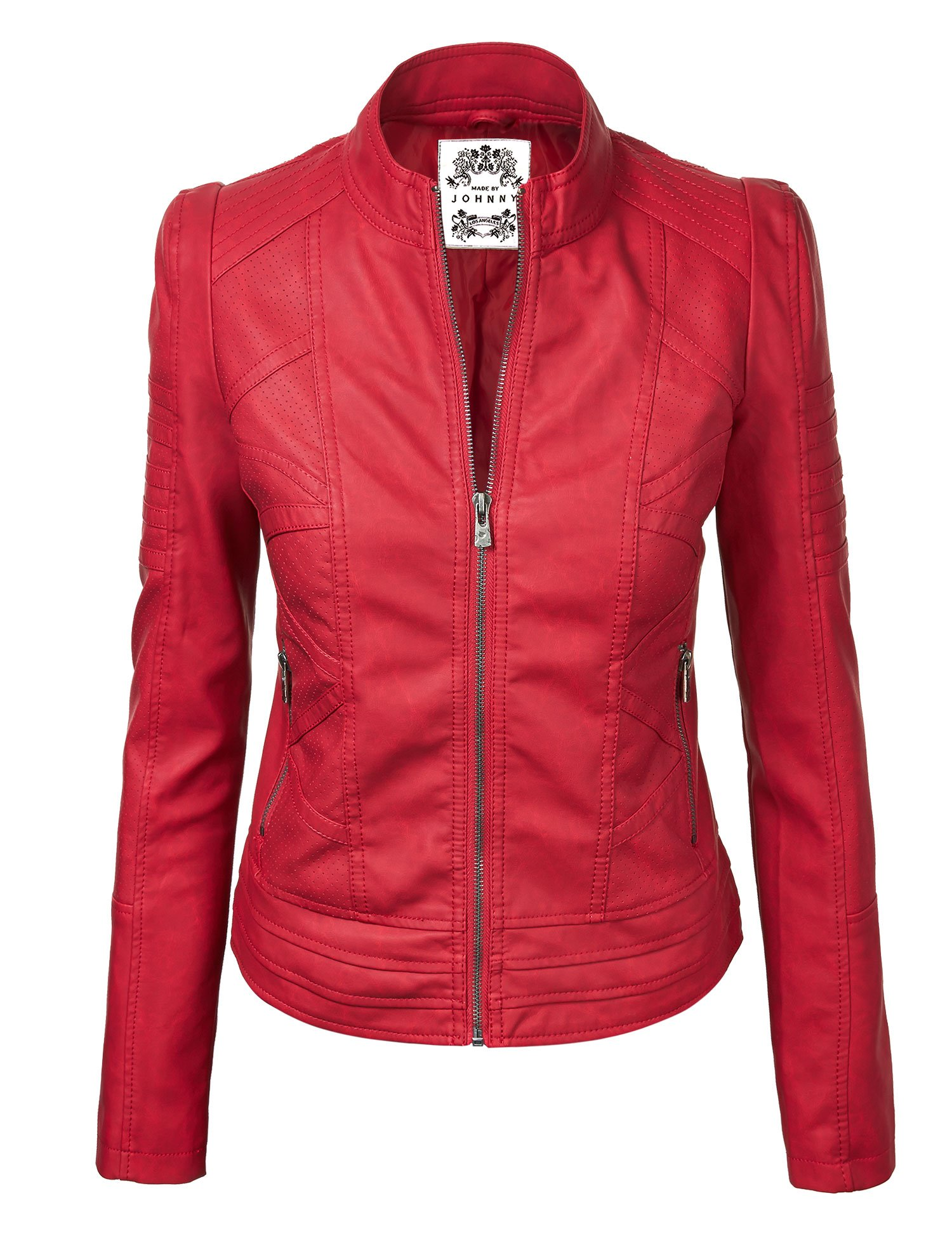 WJC746 Womens Vegan Leather Motorcycle Jacket M RED