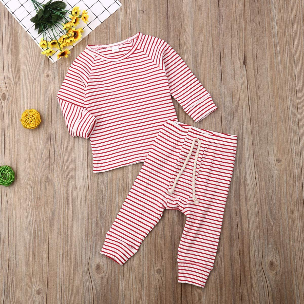 ITFABS Cute Baby Boys Girls Pajamas Set Organic Cotton Solid Pjs Sleepwear Toddler Baby Long Sleeve Sleeper Home Wear