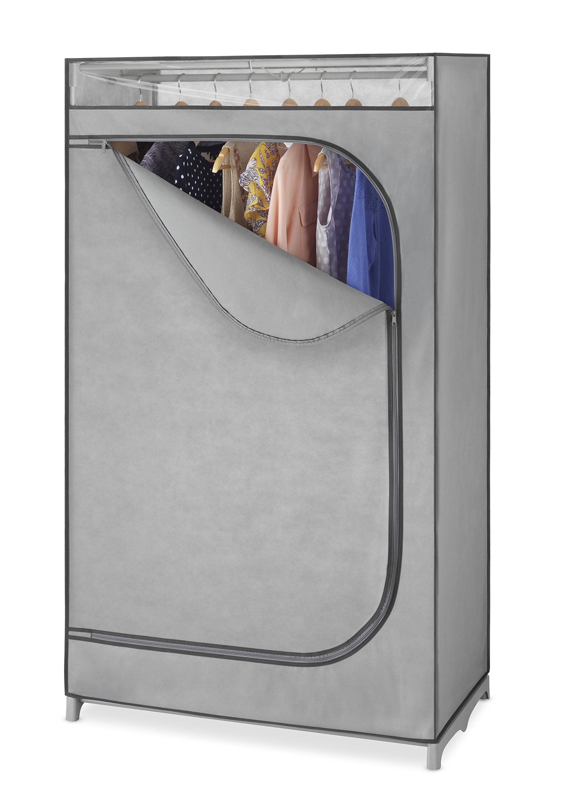 Whitmor Portable Wardrobe Clothes Closet Storage Organizer with Hanging Rack - Grey Color - No-tool Assembly - See Through Window - Washable Fabric Cover - Extra Strong & Durable - 19.75 x 36 x 64'' by Whitmor
