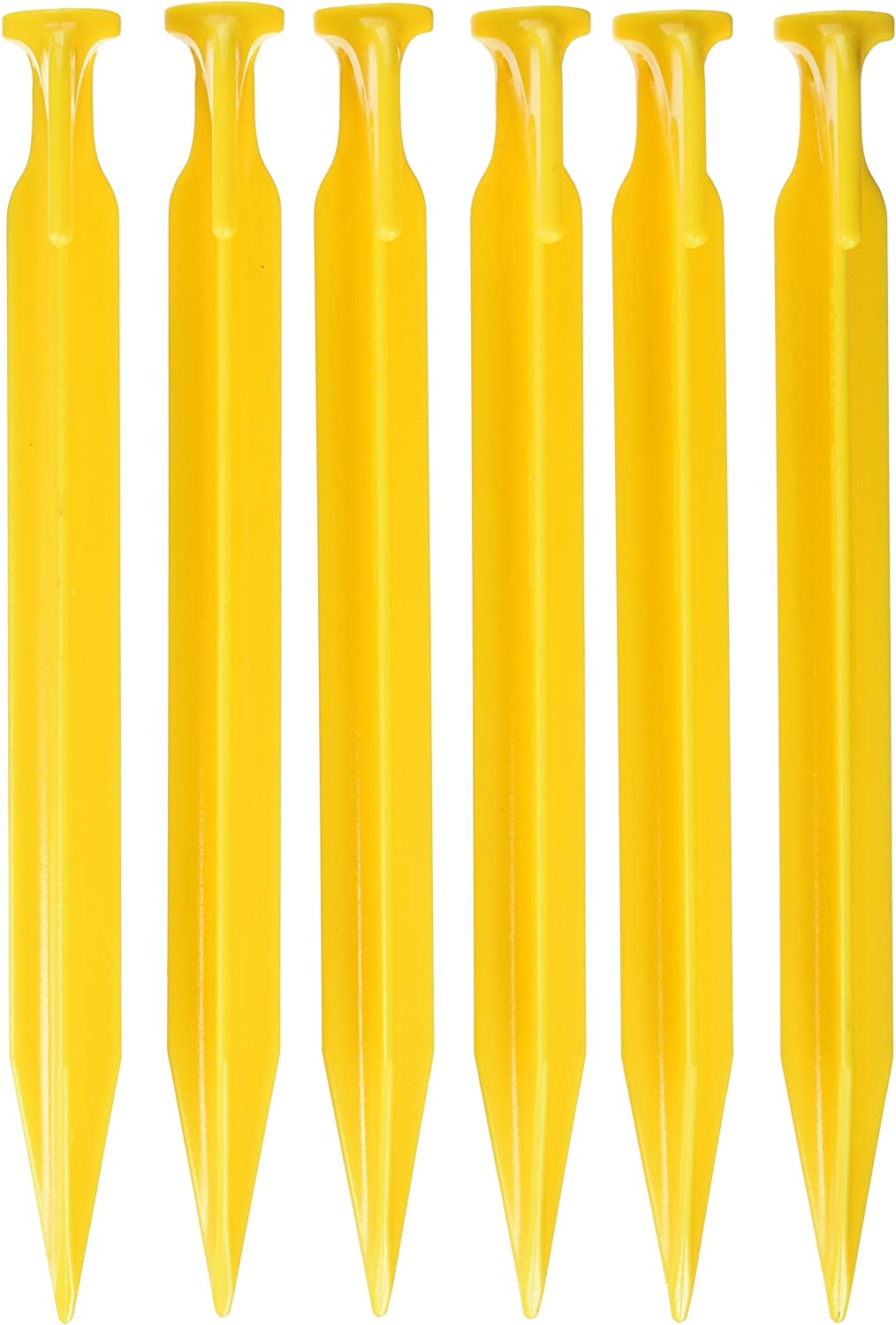 12-6 INCH YELLOW RUGGED ABS TENT PEGS//STAKES NO SLIP HOOKS LIGHTWEIGHT  12 PK