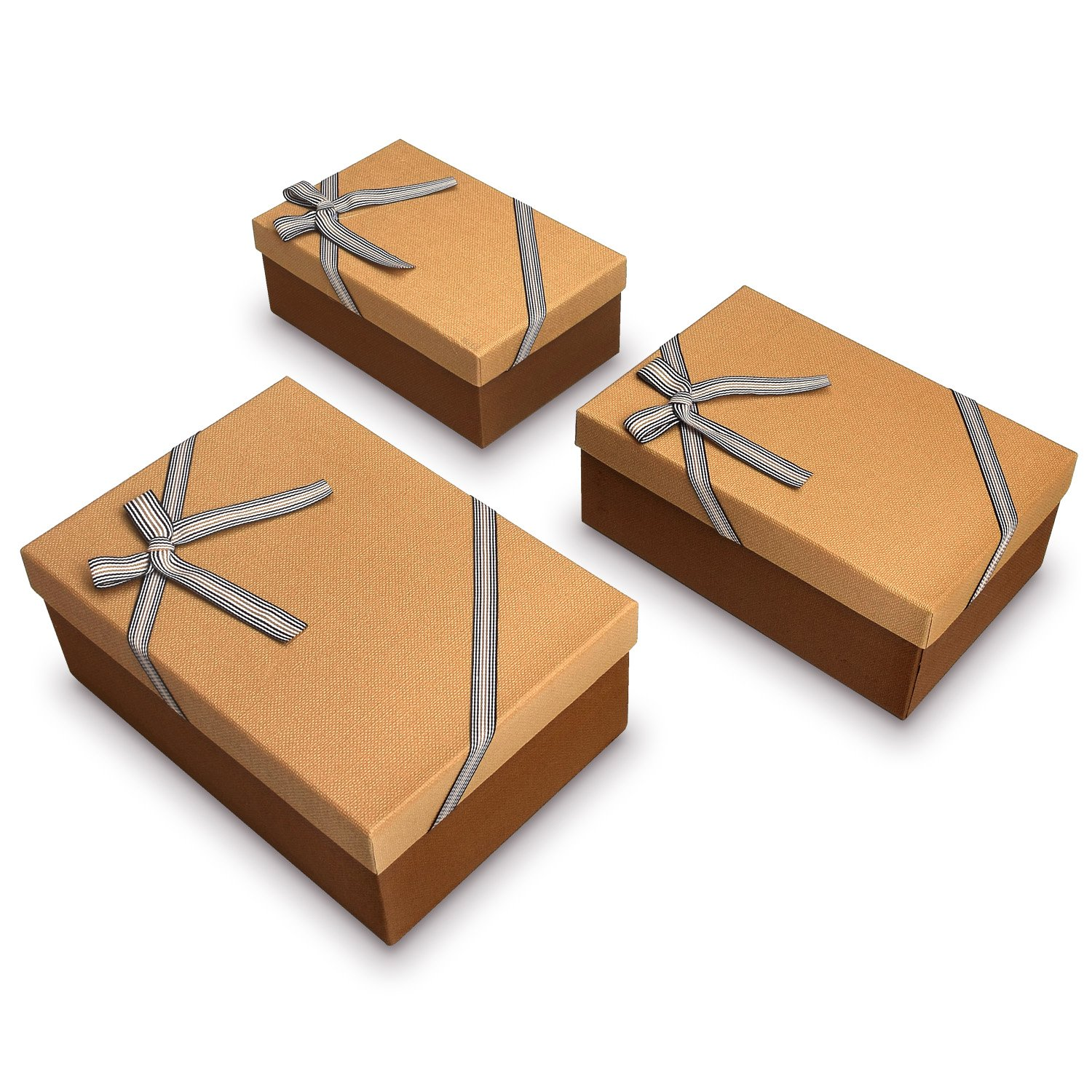 Elegant Decorative Nesting Gift Boxes, A Set of 3, Brown Color with A Bow tie