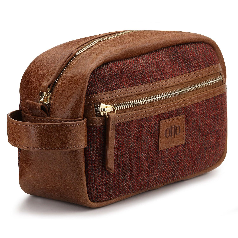 OTTO Genuine Leather Travel Toiletry, Makeup, Shaving Organizer Bag - Unisex (Woven Fabric)