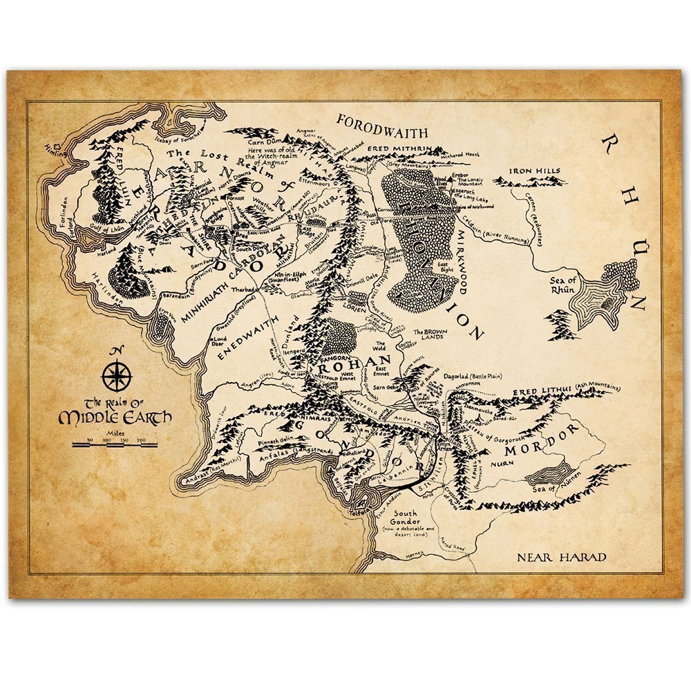 Details about Map of Middle Earth - 11x14 Unframed Art Print - Great Gift  for Lord of the Ring