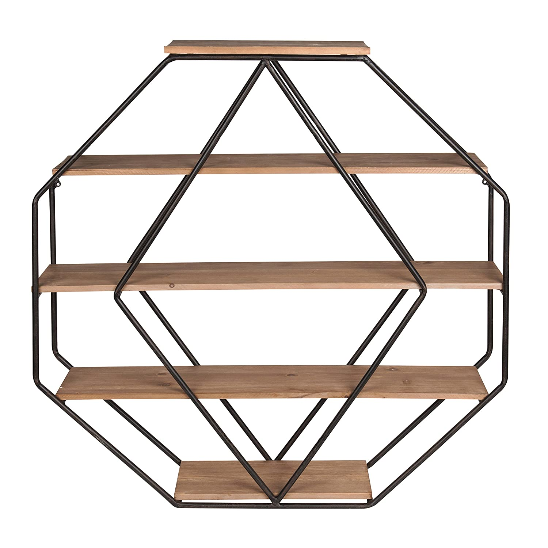 Kate and Laurel Lintz Wood Octagon Floating Wall Shelves, Rustic Brown/Black