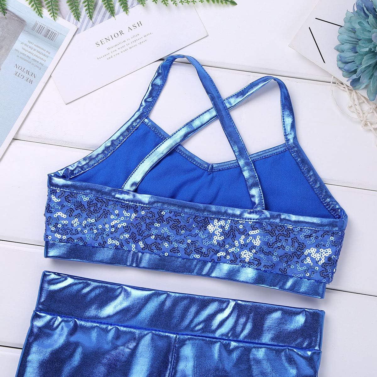 Freebily 2pcs Girls Tankini Swimsuit Set Tank Top Bra with Boyshort Bottoms Dance Outfit Summer Beach Sport Swim Bathing Suit