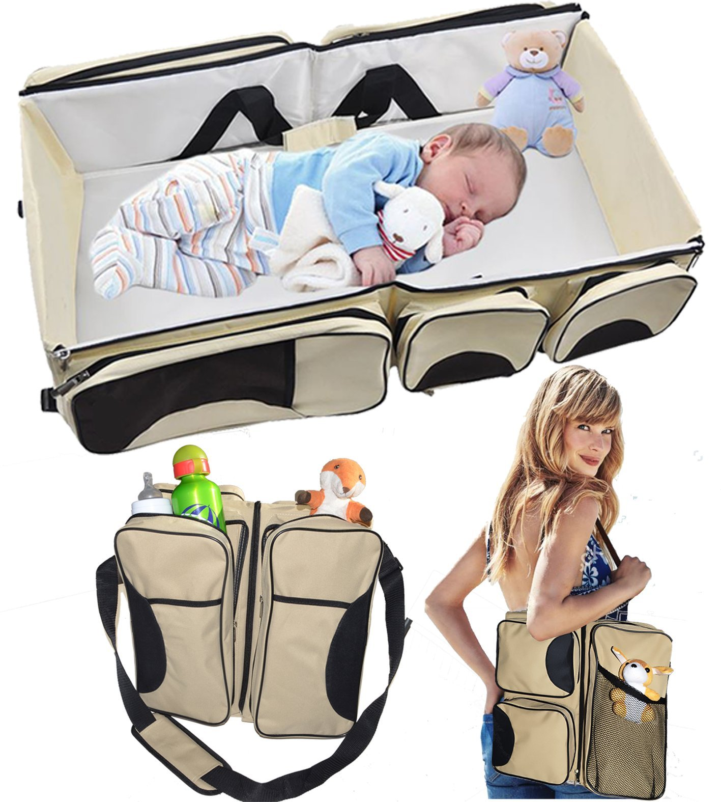 TinyToes 3 in 1 - Travel Bassinet - Diaper bag - Change Station - (Cream) - Baby Diaper Bag Bed Nappy Infant Carrycot Portable Change Table Portacrib Boy Girl Best Quality Newborn by Babygear4u