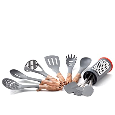 Old Dutch 1518 11 Pc. Hanging w/Caddy Kitchen Tools Set, 3.37x3.37x6.12, Stainless Steel, Black, Brown