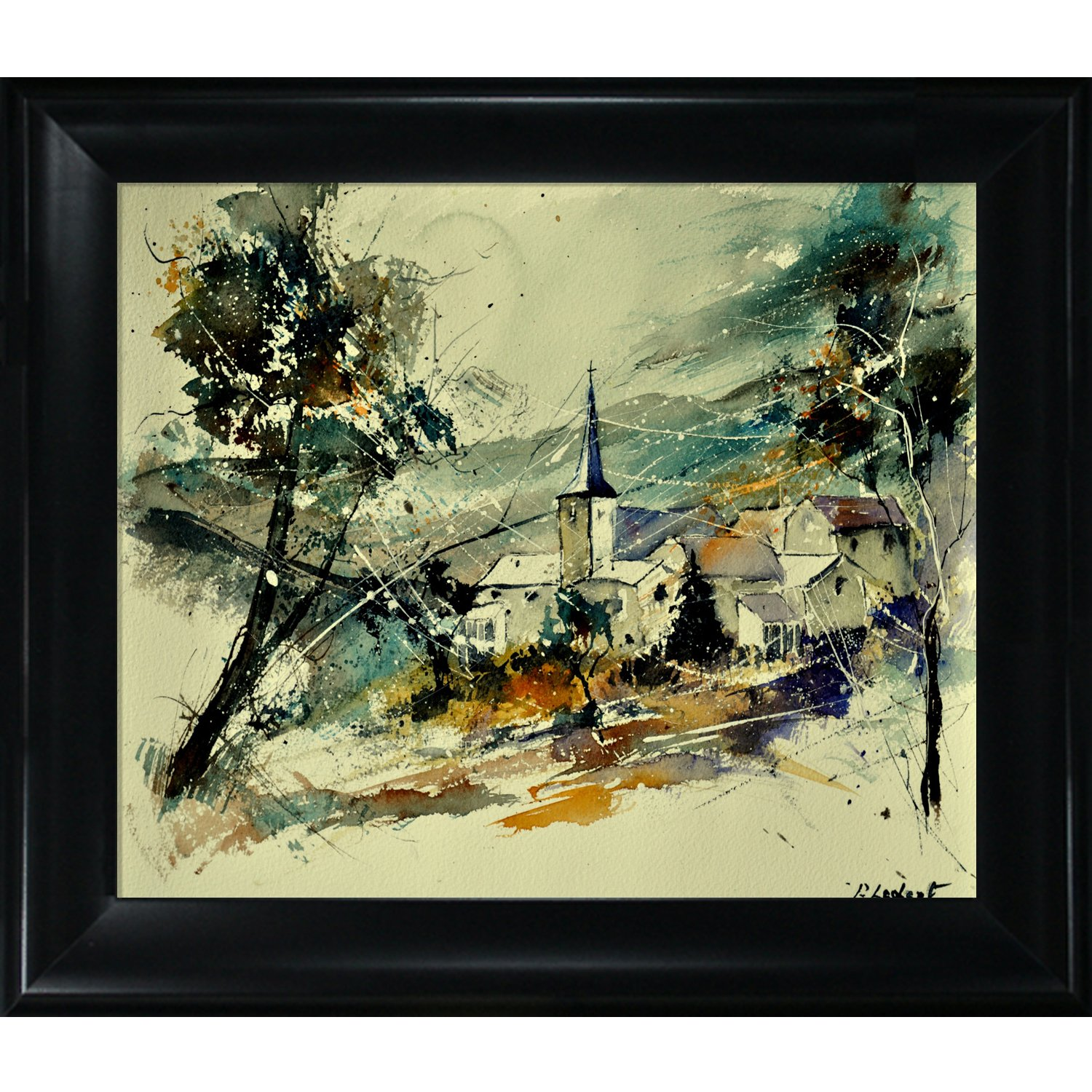 overstockArt 115022 Watercolor Print on Canvas with Black Satin King Frame by Pol Ledent