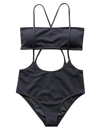 dc1e330bc0 Amazon.com: RUUHEE Women Ribbed High Waisted Slip Bikini Bottom Bandeau Top  Swimsuits: Clothing