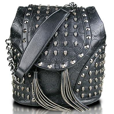 8c8b7071b5a Faux Leather Studded Embossed Skull Chain Backpack Shoulder Bag (Black)