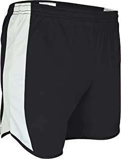 """product image for TR-687Y-CB Youth Unisex 4"""" Light Weight Sheer Fabric w/Built in Brief Track Short with Side Panels and Inner Brief (Large, Black/White)"""
