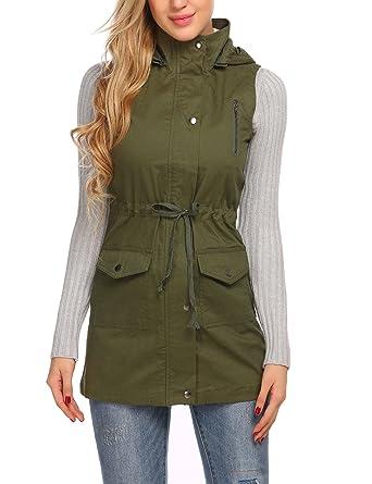 9fbf85b712b ELESOL Women s Plus Size Solid Turn Down Collar Zip up Drawstring Jacket  Vest