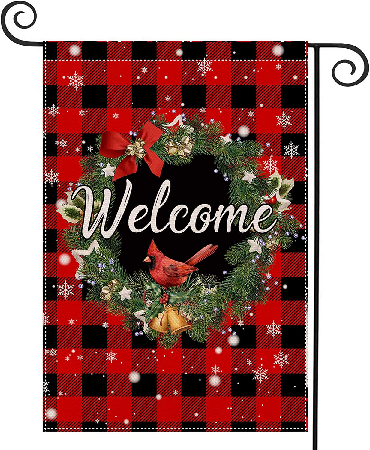 EKOREST Christmas Garden Flag Coniferous Wreath Buffalo Check Plaid Decorations Vertical Double Sided 12.5 x 18 Inch Farmhouse Burlap Xmax Red Welcome Yard Signs Outdoor Decor for Lawn Patio Décor
