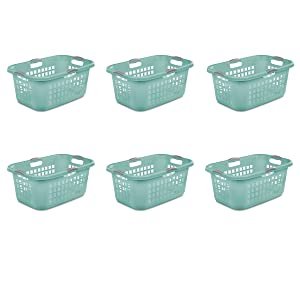 Sterilite 12167906, 2 Bushel 71 L Ultra Laundry Basket, Aqua Chrome with Titanium Handles, 6 Pack