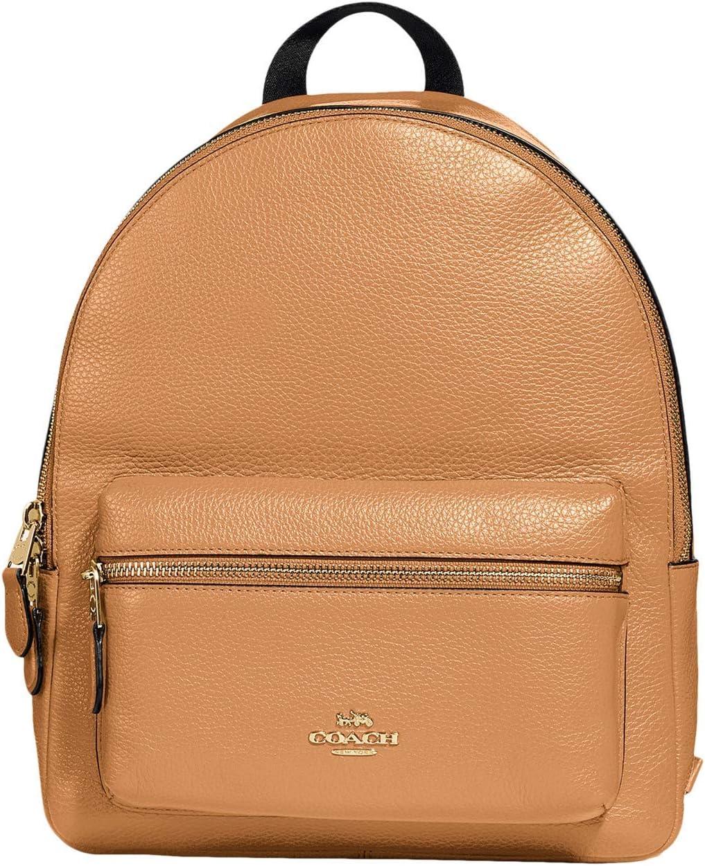 COACH Pebbled Leather Medium Charlie Backpack Light Saddle One Size