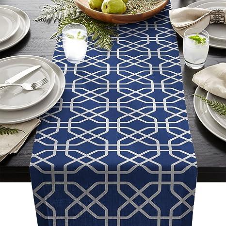 Delicieux Cotton Linen Burlap Table Runner, White Navy Blue Trellis Geometric  Pattern, For Wedding Party