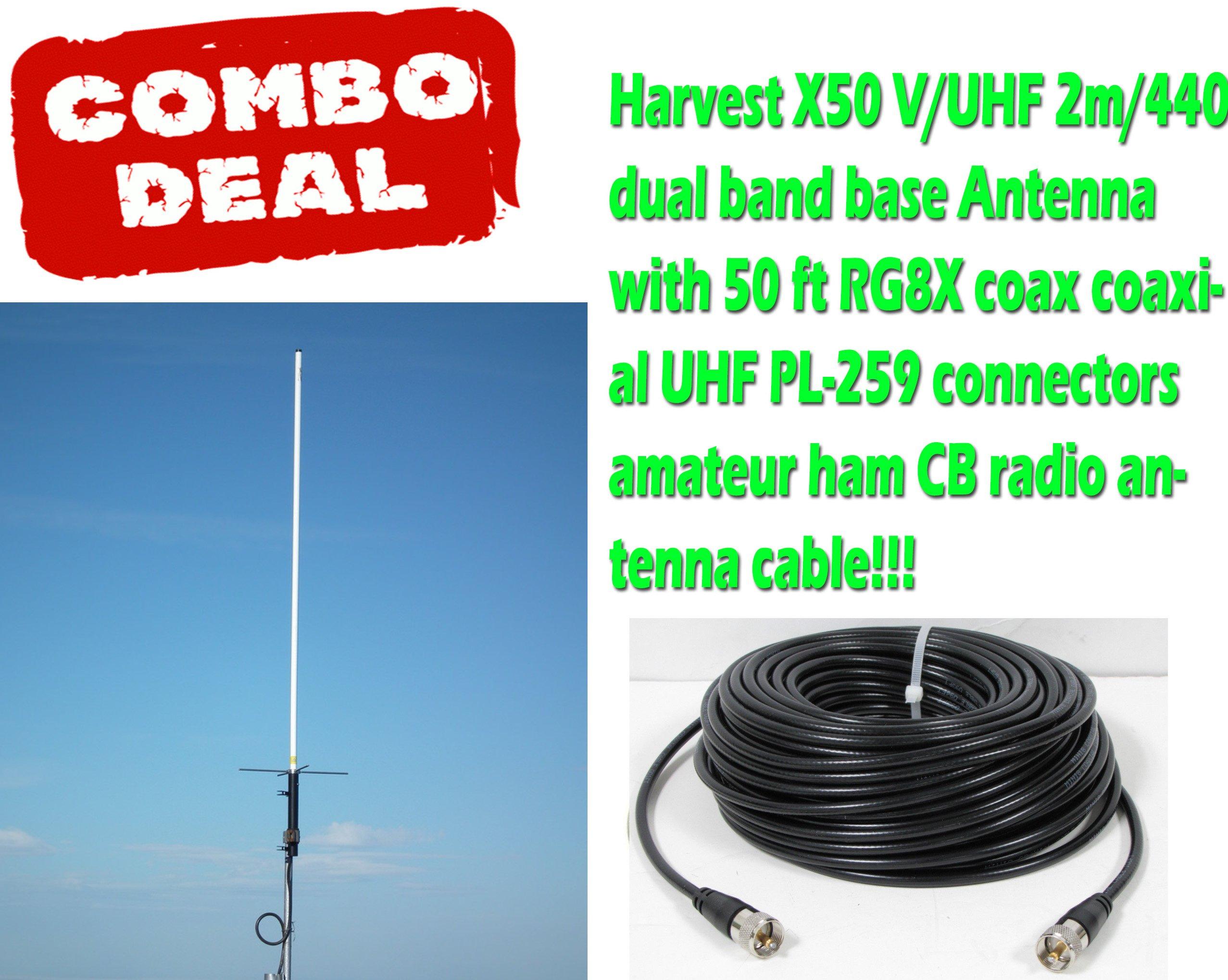 Harvest X50 V/UHF 2m/440 dua Antenna with 50 Ft Coax - 4.5dB(VHF)/7.2dB(UHF)