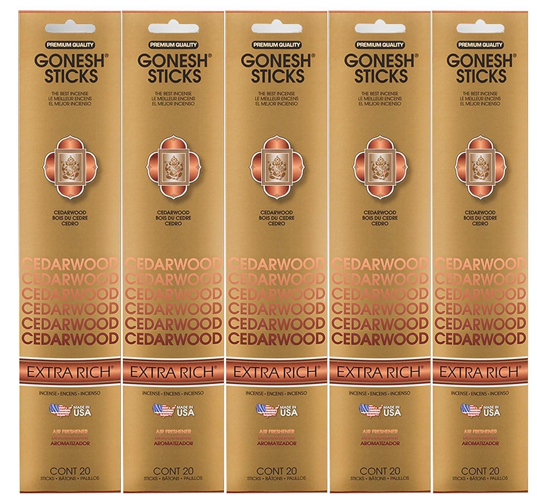 Gonesh Incense Sticks Extra Richコレクション – シダーウッド5パック(合計100 ) B078Y9FBHZ