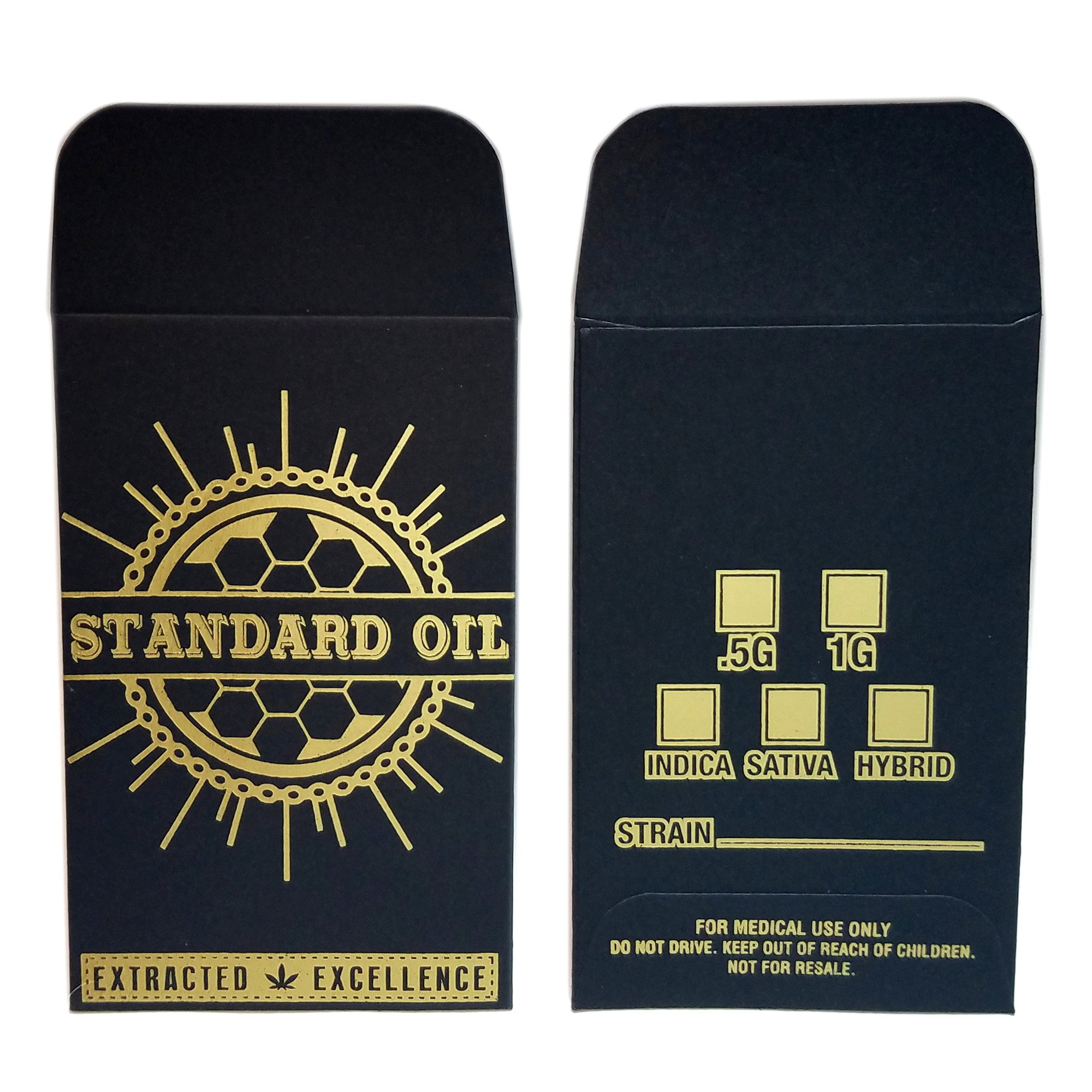 100 - Original Black Gold Standard Oil Wax Extract Coin Foil Envelopes #001