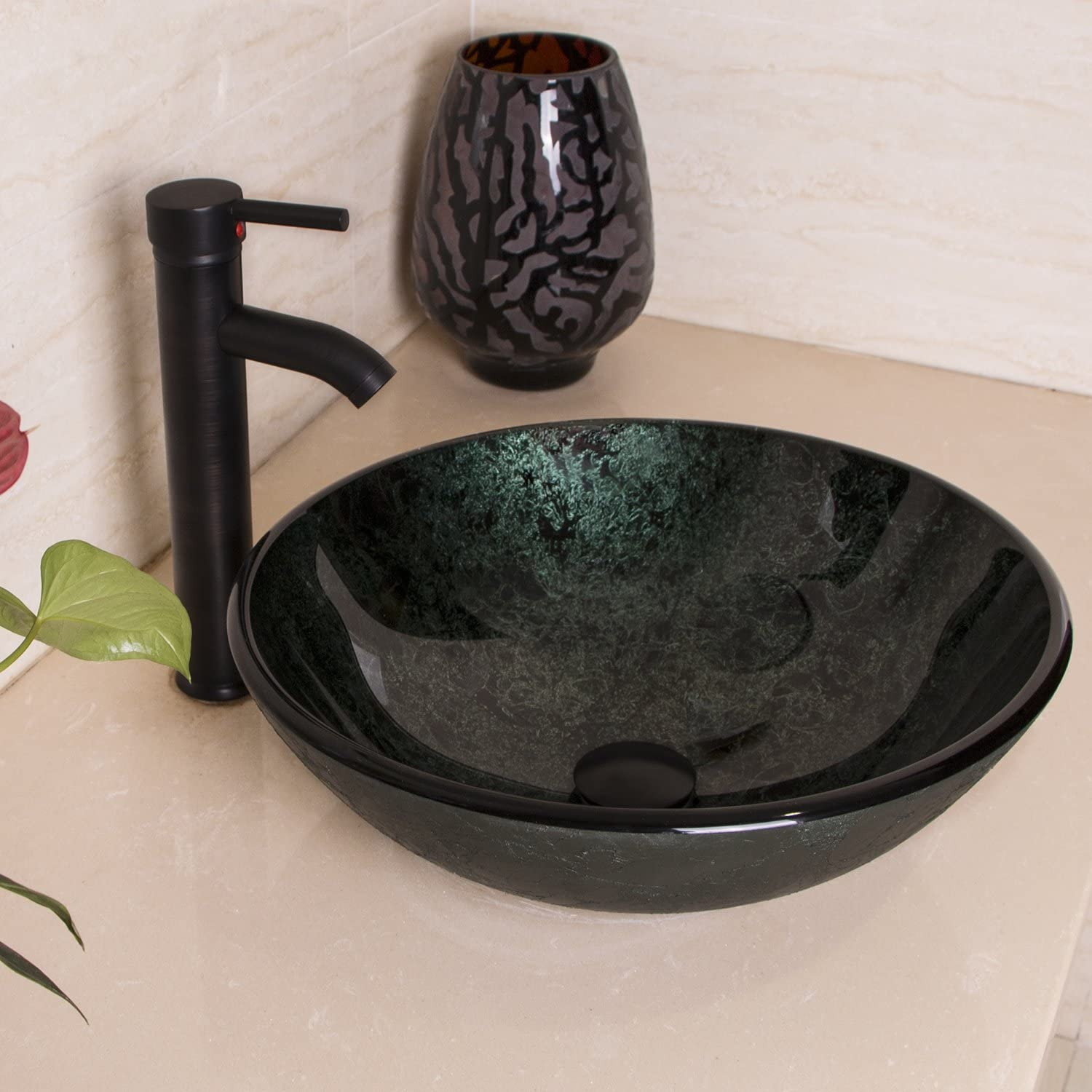 Sliverylake Dark Green Glass Vessel Sink Bathroom Combo Bowl with ORB Oil Rubbed Bronze Faucet and Matching Drain