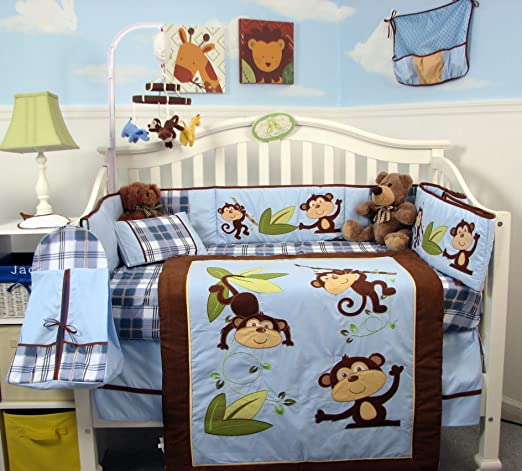 SoHo Playful Monkey Baby Crib Nursery Bedding Set 14 pcs