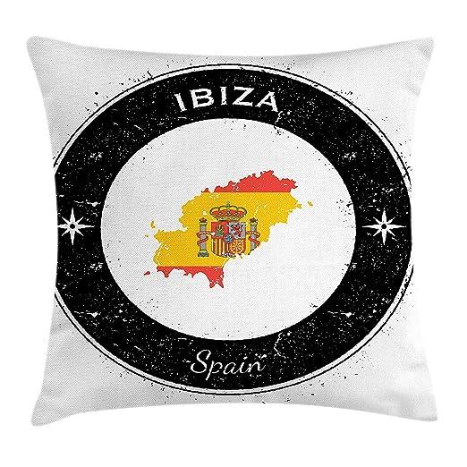Ibiza Throw Pillow Cushion Cover, Grunge Monochrome Round ...