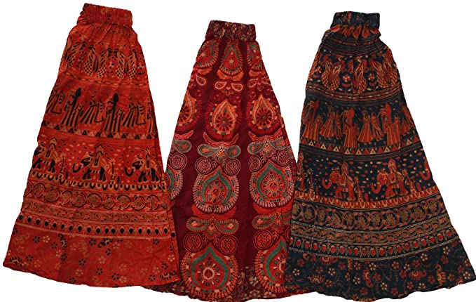 9a4b17a65c Exotic India Women's Cotton Lot of 3 Floral Printed Midi Skirts ...