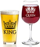 King and Queen Gift Set - 16 oz Beer Pint Glass, 13 oz Wine Glass - Cool Present Idea For Wedding, Engagement, Housewarming, Anniversary, Newlyweds, Couples, Parents, Mom, Dad, Him or Her, Mr Mrs