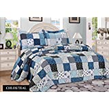 Floral Vintage Patchwork Quilted Bedspread Throw with 2 Pillow Shams Teal new by Riccardo Valeria