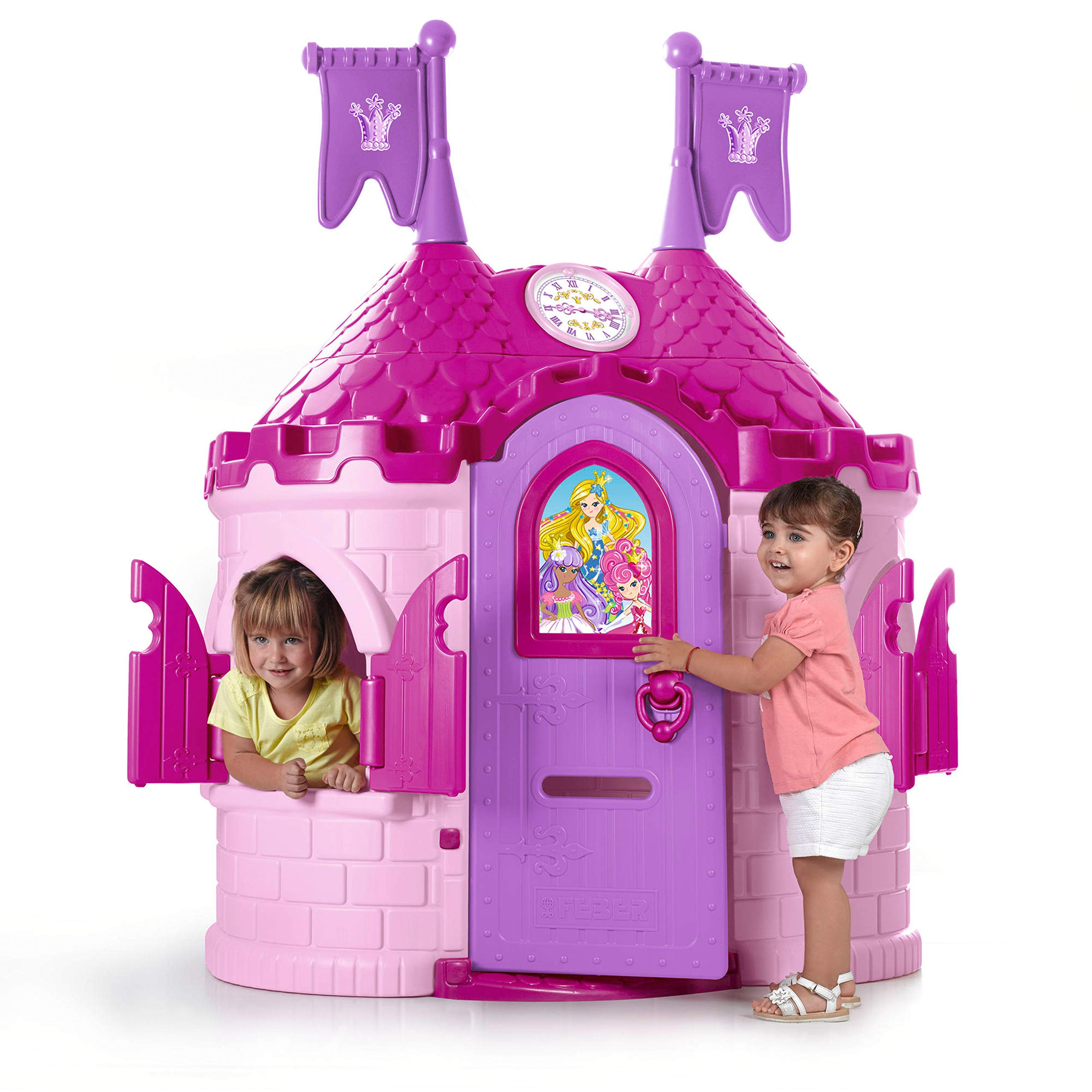 ECR4Kids Junior Princess Palace Playhouse, Pink Castle Playhouse with Working Doorbell, Full-Sized Door with Mail Slot and Shutters, Indoor or Outdoor Play, Over 6 Feet Tall by ECR4Kids