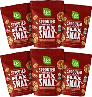 product image for Go Raw Superfood Flax Snax, Gluten Free Crackers, Zesty Pizza, 3 oz. Bags (Pack of 6) — Keto | Organic | Vegan | Paleo | Natural