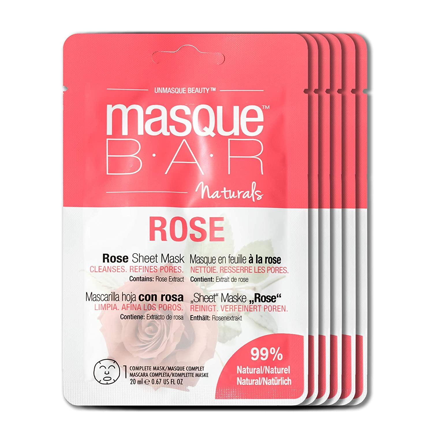 masque BAR Naturals Rose Sheet Face Mask, Korean Skin Care Facial Mask, Pore Minimzer FaceMask(6 Pack)