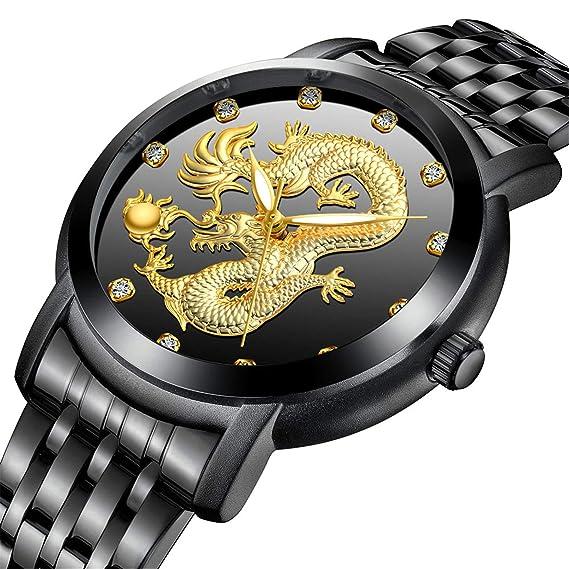Dragon Skeleton - Reloj de Cuarzo para Hombre, Correa de Acero Inoxidable, Resistente al Agua, Reloj Casual Dorado + Caja de Regalo: Amazon.es: Relojes
