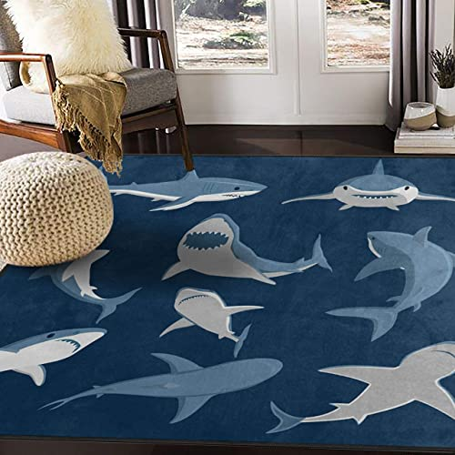 ALAZA Blue Cartoon Shark Print Area Rug Rugs for Living Room Bedroom 7 x 5