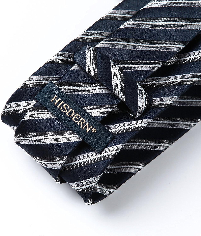 HISDERN Mens Necktie Collections Lot 5 PCS Classic Mens Silk Tie Set Necktie /& Pocket Square with Gift Box