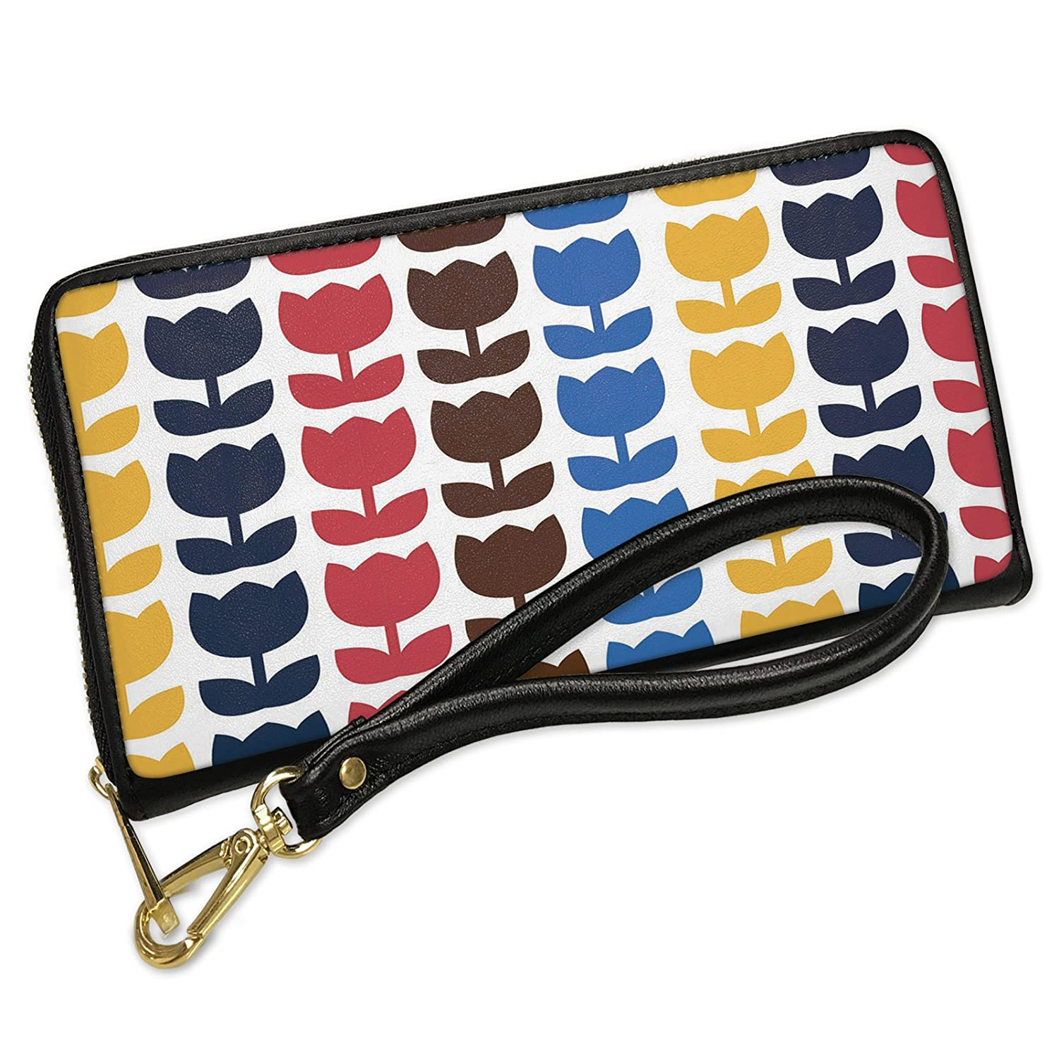 Wallet Clutch Pattern Retro Tulips Multicolored Large with Removable  Wristlet Strap Neonblond d87ed4bcfb6e1