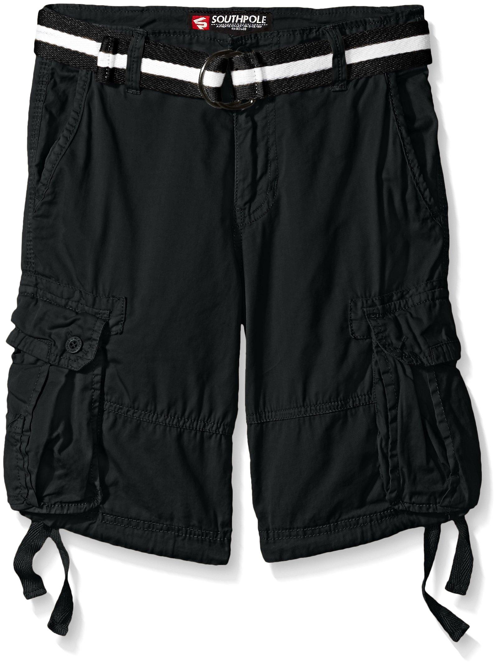 Southpole Big Boys Belted Fine Twill Basic Cargo Short, Black, 12