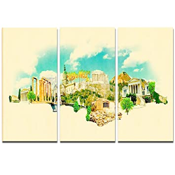 Amazon.com: Athens Panoramic View - Cityscape watercolor Metal Wall ...