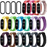 ivoler [20 Stuks] 16 färger armband + 4-pack skärmskydd för Xiaomi Mi Band 5, Soft Silicone Waterproof Wearable…