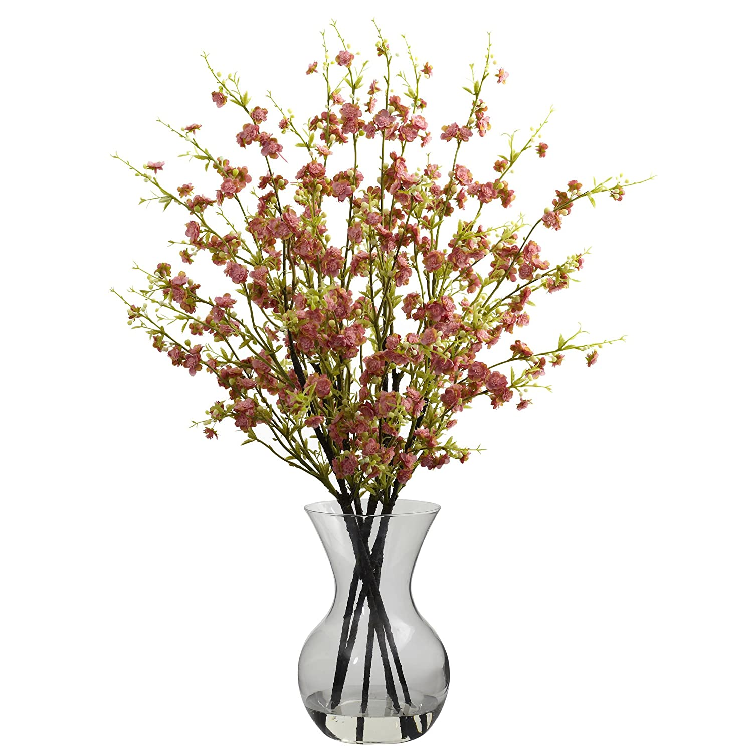 Amazon nearly natural 1315 pk cherry blossoms with vase amazon nearly natural 1315 pk cherry blossoms with vase arrangement pink home kitchen dhlflorist Image collections