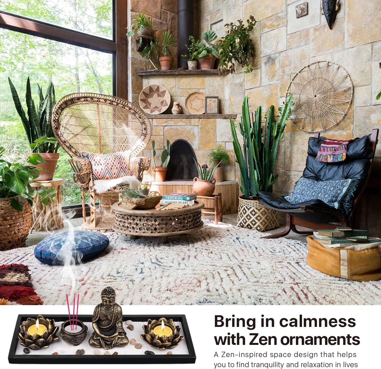 Flexzion Zen - Kit de meditación para jardín, mini jardín de arena asiática con estatua de Buda, soporte para vela de loto, quemador de incienso, palos de incienso, rastrillo de piedras naturales,