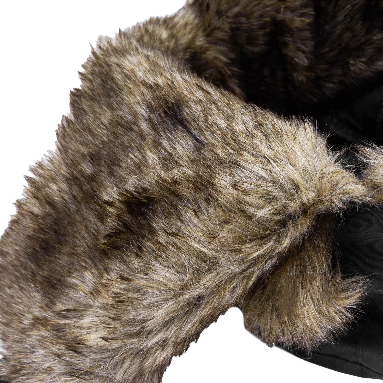 MeOkey Imperm/éable Fourrure dhiver Bonnet de doreille Rabat Bonnet Aviateur avec Masque D/étachable Anti Vent Anti poussi/ère pour Ski Snowboard pour homme et femme