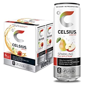 CELSIUS Sparkling Fuji Apple Pear Fitness Drink, Zero Sugar, 12oz. Slim Can (Pack of 4)